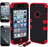 Aria Apple iPhone 5 Hard Hybrid Case Snap On Cover Black / Red Silicone TUFF Ec Reviews