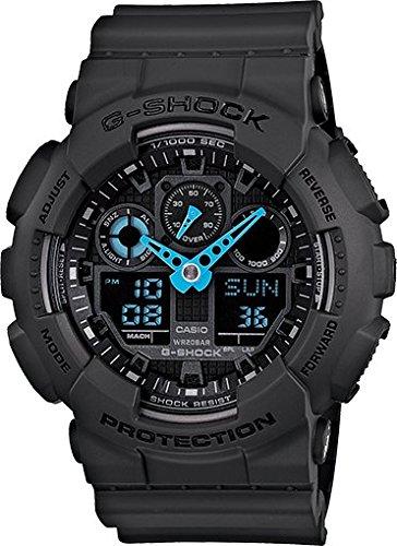 Casio Men'S Ga-100C-8Acr G-Shock Analog-Digital Display Quartz Gray Watch Bright Neon Blue Hands
