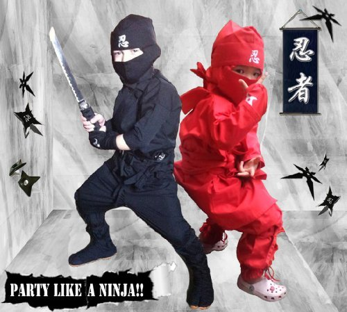 Halloween Children's Ninja Uniform/ Martial Art Costume! Black/Red