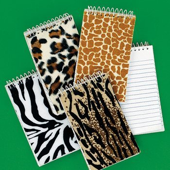 1 X Dozen Plush Animal Print Spiral Notepads [Toy]