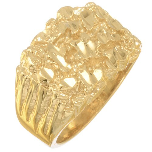 Men'S 19Mm Wide Chunky Gold Nugget Statement Ring Heavy 14K Yellow Gold Plated - Size 8