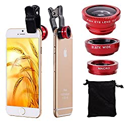 colour blind Clip-On 3 in 1 Mobile Cell Phone Camera Lens Kit, 180 Degree Fisheye Lens + 0.67X Wide Angle + 10X Macro Lens,