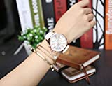 Top Plaza Fashion Womens Analog Watch, PU Leather Band Rose Gold Tone - White