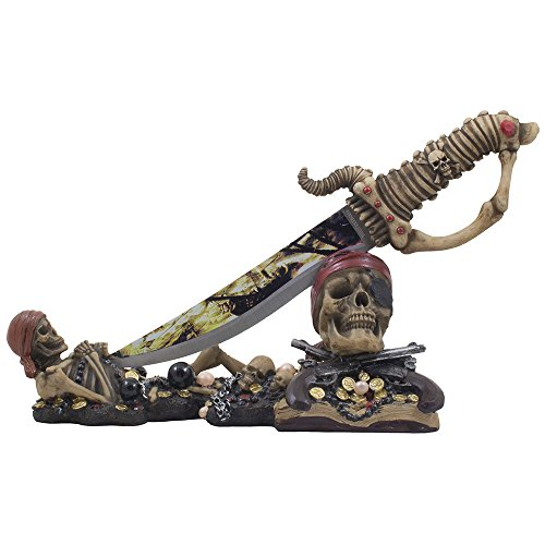 Caribbean Skeleton Pirates Knife Display Stand Statue with Skull and Crossbones for Tropical & Nautical Decor Dagger Holders or Spooky