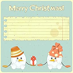 Wallmonkeys WM239453 Two Snowmen on Vintage Background Peel and Stick Wall Decals (48 in H x 48 in W)