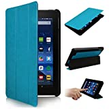 SOONHAU Ultra Lightweight Slim-shell Stand Leather Smart Case Cover For Amazon Kindle Fire 10' HD Tablet 5th Generation, 2015 Release (Blue)