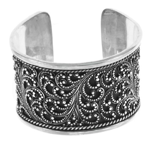 Silver Ornate Balinese Cuff Bracelet Wide Jewelry of Bali