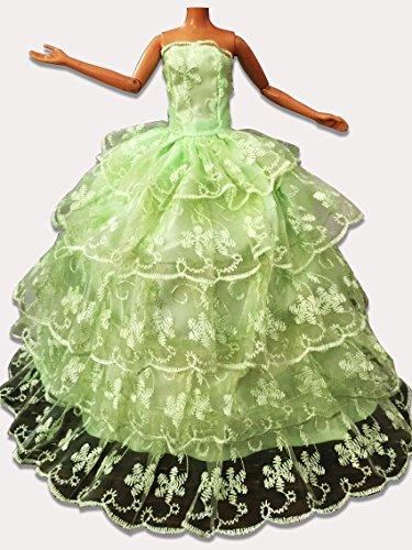 WayIn-Banquete-de-boda-de-moda-hecha-a-mano-viste-el-vestido-para-la-mueca-de-Barbie-verde-con-5-capas-atan