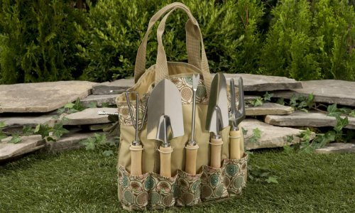 Gift Craft 12.6-Inch Tan Polyester Garden Tool Bag with Metal Tools and Wood Tree Wood Handles, Small, Set of 6