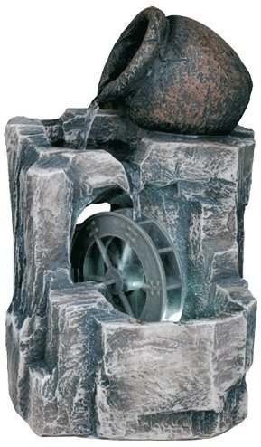 OK LIGHTING 11 in. Stone/Gray LED Table Fountain (Water Fountain Wheel compare prices)