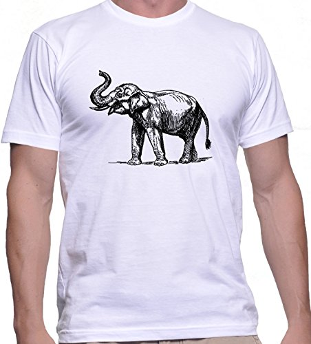 hommes-t-shirt-avec-elephant-illustartion-imprime-col-ras-du-cou-small-blanc
