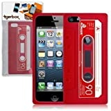 Tigerbox Flexible Silicone Retro Cassette Tape Style Skin Cover Case for Apple iPhone 5 With Screen Protector (Red)