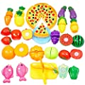 Toy Food, Finer Shop 26Pcs Plastic Fruit Vegetable Kitchen Cutting Toy Educational Toy for Kids