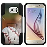 Galaxy S6 Case, Dual Layer Shell STRIKE Impact Kickstand Case with Unique Graphic Images for Samsung Galaxy S6 VI SM-G920 (T Mobile, Sprint, AT&T, US Cellular, Verizon) from MINITURTLE | Includes Clear Screen Protector and Stylus Pen - Baseball Blur