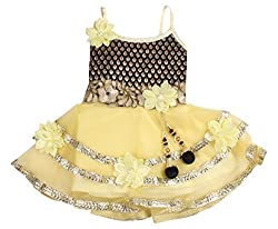 Looks Baby-Girls' Frock (C 883, Yellow, Black and Gold, 0-1 Years)