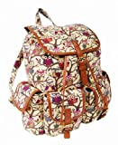 New Ladies Girls Designer Canvas Backpack Rucksack School College Travel Gym (Owl Beige)