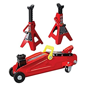 Torin 2 Ton Trolley Jack with Stands (without Wheel Chocks)