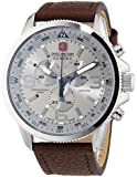Swiss Military Arrow Men's Quartz Watch with Silver Dial Chronograph Display and Brown Leather Strap 6-4224.04.030