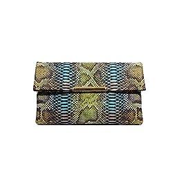 LADODO Python Skin Bicast (PU) Leather Folder Clutch Handbags (turquoise blue)