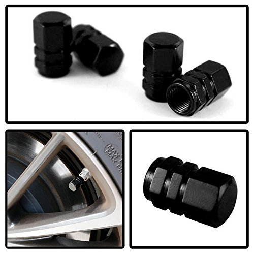 iJDMTOY (4) Tuner Racing Style Black Aluminum Tire Valve Caps (Hexagon Shape) (Nissan Juke Black Rims compare prices)