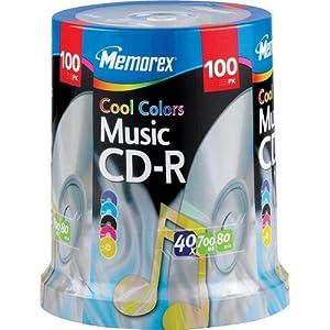 Memorex 32020012954 Cool Color Music CD-R 100 Pack Spindle