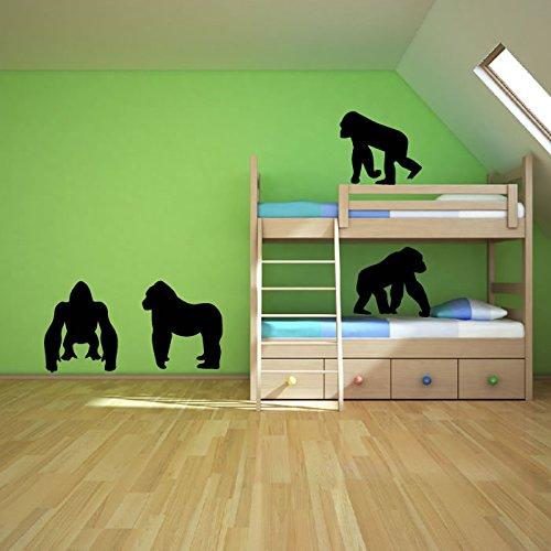 gorilas-set-etiqueta-de-la-pared-tatuajes-de-pared-animal-arte-disponible-en-5-tamanos-y-25-colores-