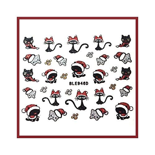 stickers ongles - chat de noel à paillettes - ble946D