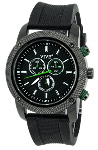 VIVE® Banger Sportlicher Chronograph for Men Navigator Herrenuhr Atlas Modell Weltzeituhr Schwarz Grün mit Silikonarmband