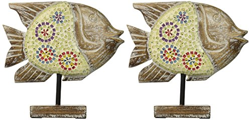 IMAX 83019-2 Kawela Mosaic Glass Fish, Set of 2 (Mosaic Fish compare prices)