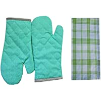 Tidy Green Colour Printed Design Cotton Kitchen Hand Glove & Napkin - Pack Of 3Pcs