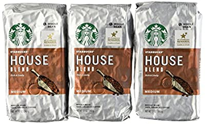 Starbucks House Blend Coffee, Whole Bean, 12-Ounce Bags (Pack of 3)