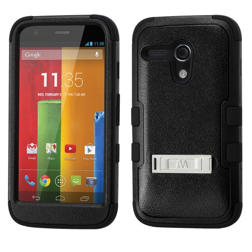 Thousand Eight(Tm) For Motorola Moto G Heavy Duty Defender Tuff Hybrid Hard Case With Stand Case + [Free Lcd Screen Protector Shield(Ultra Clear)+Touch Screen Stylus] (Hybrid Stand Black/Black)