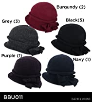 Wool Winter Cloche Bucket with BOW & Brim Crushable Hat (Black)