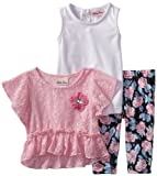 Little Lass Baby-Girls Infant 3 Piece Crochet Set with Flower Print Legging