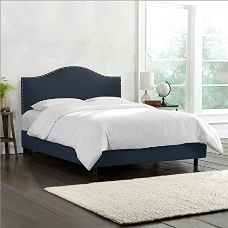 Skyline Furniture Nail Button Bed Frame in Upholstered Linen California King Navy