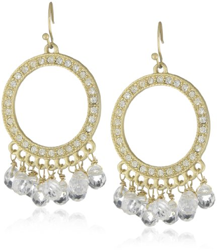 Flying Lizard Designs Gold Circle with Clear Crystal Fringe Drop Earrings