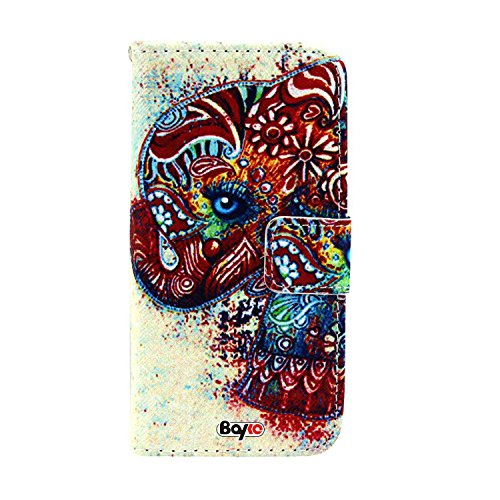 Bayke Brand / Iphone 6 Plus Case Beautiful Pu Leather Wallet Type Flip Case Cover With Credit Card Holder Slots For Apple Iphone 6 Pro 5.5 Inch Release On 2014 (Colorful Elephant On Aztec Pattern Design Print)