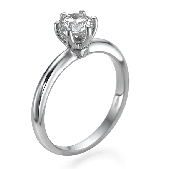 Solitaire Diamond Ring 0.50 CT Round Shaped Stone H-I/I1-I2 14ct White Gold