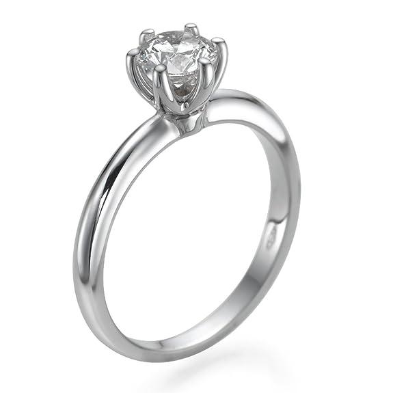 Solitaire Diamond Ring 0.50 CT Round Shaped Stone H-I/I1-I2 14ct White Gold