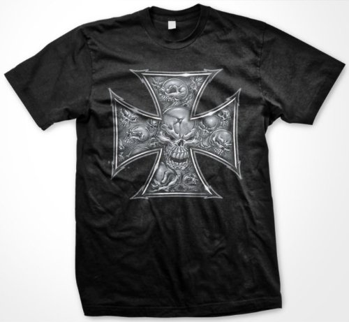 Iron Cross Skulls Mens T-shirt, Hardcore Chopper Biker Mens Shirt, X-Large, Charcoal