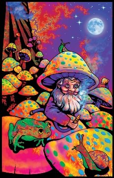 Mushroom Man Blacklight Velvet Flocked Poster Art Print (23x35)