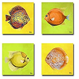 Bright Aquatic Life I, II, III, & IV by Patricia Pinto 4-pc Premium Gallery Wrapped Canvas Giclee Art Set (Ready-to-Hang)
