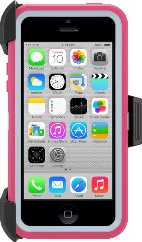 Otterbox Defender Series Case With Holster Clip For Iphone 5C Only - Retail Packaging (Blaze Pink/Powder Grey)