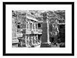 Ellora - Art Print & Wall Art Solid Wood Framed Read to Hang for Home and Office (Black & White 16x12 inches)