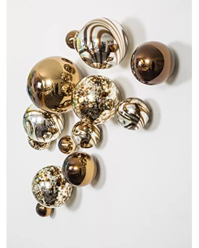 Worldly Goods Set of 15 Wall Spheres, Silver & Chocolate