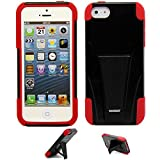 5s Case,VAKOO® iPhone 5s Case,iPhone 5 Case Dual Layer Defender Shockproof Drop proof High Impact Hybrid Armor Silicone Rugged Kickstand Case for Apple iPhone 5 5S (Red/Black) Reviews