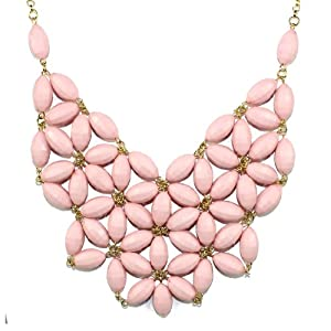 Latest Inspired Fashion Bib Statement Crystals Colorful Beads Acrylic Necklace Light Pink