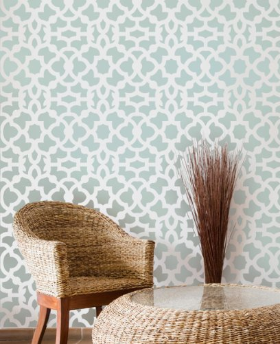 Moroccan Stencil Zamira - Long version - reusable stencil patterns for walls just like wallpaper - DIY decor