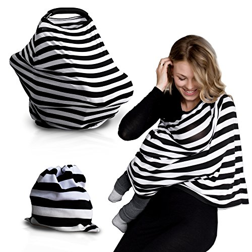 Nursing Breastfeeding Cover Scarf - Baby Car Seat Canopy, Shopping Cart, Stroller Cozy Cover for Girls and Boys - Best Multi-Use Infinity Stretchy Udder Shawl for Infants by QAQADU (Highchair Insert Pad compare prices)