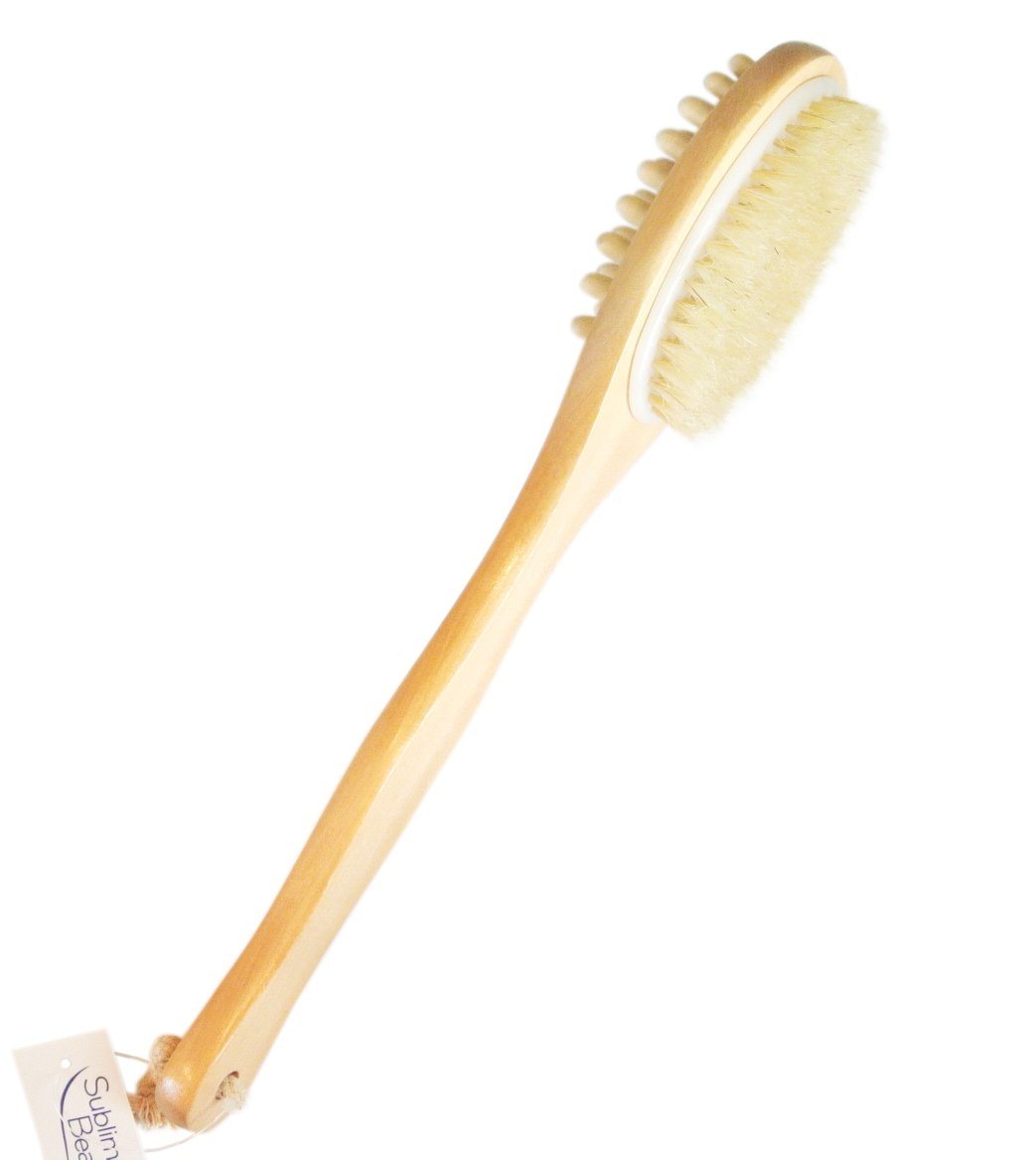 Sublime Beauty HEALTHY ORIGINAL BODY BRUSH for Well-Being. Includes HOW-TO GUIDE. Ancient Art for Circulation & Glowing Skin. Top Skin Brush, Long Handle, Natural Bristles. 100% Moneyback Guarantee